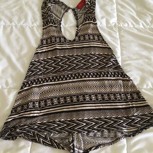 Tribal print open back top